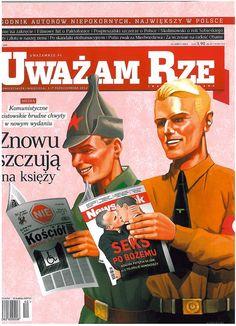 Szokujące okładka prawicowego tygodnika: Hitlerowiec czyta Newsweeka, a bolszewik Nie