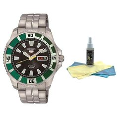 Seiko SRP205 Men's 5 Sports Black Dial Stainless Steel Bracelet Automatic Watch with 30ml Ultimate Watch Cleaning Kit