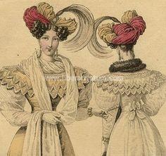 Journal des dames et des modes Fashion Turbans Plumes - Costume Gravure 1827