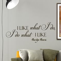 Wall Decals Marilyn Monroe Quote Decal I Like What I Do Sayings Sticker Vinyl Decals Wall Decor Murals Z274
