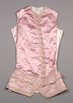 Waistcoat, c. 1760. Pale lilac silk satin with simple floral embroidery in cream, self buttons; front lined with white satin, back of white cotton.