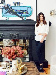 Home Tour: Nina Dobrev's Bright, California-Cool Bungalow Nina Dobrev House, Nina Dobrev Style, Katherine Pierce, Black Dress Red Carpet, Bungalow Bedroom, Fireplace Lighting, Riverside House, Natural Soul, Teen Celebrities