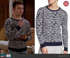 Kurt's navy rainbow print sweater on Glee.  Outfit Details: http://wornontv.net/45936/ #Glee