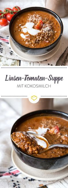 Sopa vegana de lentejas y tomate con leche de coco - küche - Veggie Recipes, Soup Recipes, Cooking Recipes, Healthy Recipes, Lentil Recipes, Milk Recipes, Grilling Recipes, Brownie Logo, Coconut Milk Soup