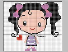 Cross Stitch Baby, Cross Stitch Charts, Cross Stitch Patterns, Square Patterns, Knitting Charts, Sweet Girls, Pixel Art, Diy And Crafts, Hello Kitty