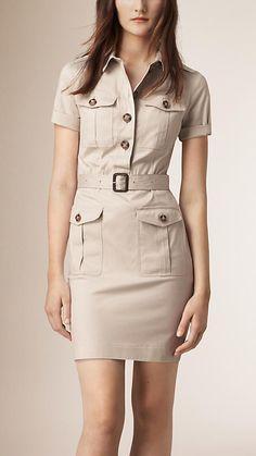 Burberry Stone Stretch Cotton Utility Dress