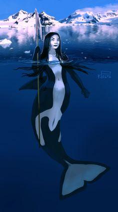Huntress Mermaid by kpelto-illustration