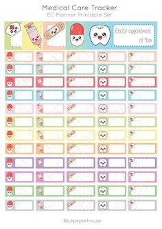 Medical Care Tracker Printable stickers,EC Planner Set, Planner Stickers, Erin Condren, Instant Download