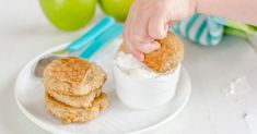 Baby pancakes made with apple and oat, perfect for baby led weaning, wheat free, egg free, refined sugar-free
