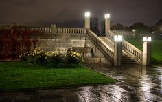 Vigeland Park at night, in the rain :) Frognerparken, Oslo, Norway Landscape Pictures, Oslo, Norway, Sidewalk, Mansions, Park, House Styles, Runes, Seasons