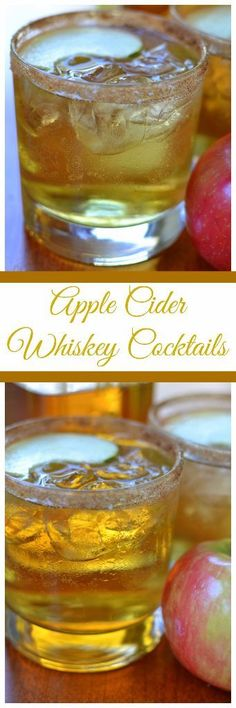 These gorgeous simple Apple Cider Whiskey Cocktails start with a rim of sweet cinnamon sugar followed by honey whiskey, apple cider and Perrier (aka sparking water).