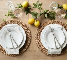 These placemats are hand woven of sustainable water hyacinth for a warm, natural layer to a tablescape. Round Table Settings, Outdoor Table Settings, Table Place Settings, Outdoor Tables, Everyday Table Settings, Dining Table Decor Everyday, Outdoor Table Decor, Casual Table Settings, Brunch Table Setting