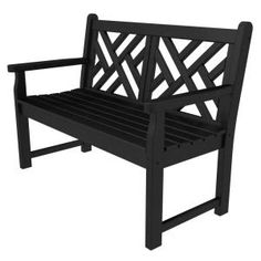 POLYWOOD Chippendale Black 48 in. Patio Bench-CDB48BL at The Home Depot