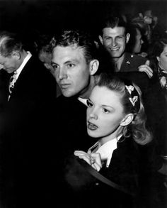 Judy Garland with Robert Stack during his leave. (1944)