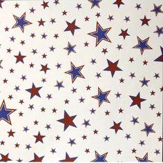 Red, White & Blue Stars Printed 12 x12 Scrapbook Paper