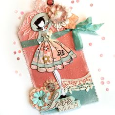 Audrey Julie Nutting Doll Tag by Jackie Benedict ~ Coral & Teal ~ Shabby Chic!