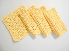 4 Yellow Crochet Cotton Wash Cloths | MY DESIGN APPAREL