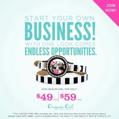"Start your Origami Owl business for just $49 USD March 7 at Noon CT through March 17 at 11:59 p.m. CT! You get this ""Girls Just Wanna Have Funds"" look, your own personal web page, social assets to share Origami Owl jewelry and a digital business center to run your business. Hurry and get started with this owl-some offer by contacting me today! https://m.facebook.com/story.php?story_fbid=1846512345563512&substory_index=0&id=1785245628356851"