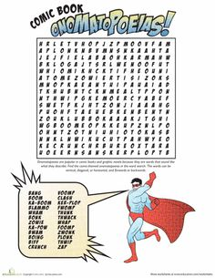 Worksheets: Onomatopoeia Comic Word Search
