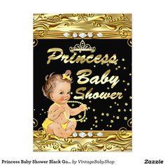 Princess Baby Shower Black Gold Sprinkle Brunette 5x7 Paper Invitation Card