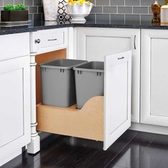 Kitchen Remodeling Rev-A-Shelf 21 Inch Bottom Mount Double Bin Trash Can with Wood Trash Cans 2 Bin Pull Out - Kitchen Organization, Kitchen Storage, Kitchen Decor, Kitchen Ideas, Cabinet Storage, Kitchen Inspiration, Rustic Kitchen, Kitchen Layout Plans, Cabinet Organizers