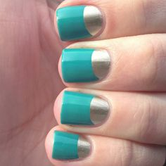 Gold and Turquoise moon mani, love it!