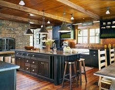 Log cabin inspired kitchen! #amazingkitchens #cabinkitchens