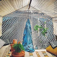 Loving this macrame tent created by designer and friend Emily Katz. Check out… Pvc Projects, Macrame Projects, Yarn Wall Hanging, Backyard Retreat, Macrame Art, Macrame Tutorial, Knitted Bags, Little Houses, Macabre