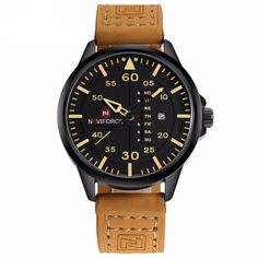 Cheap relogio brand, Buy Quality relogio relogios directly from China relogio men Suppliers: NAVIFORCE Watches Men Brand Luxury Leather Band Watch Men's Sport Quartz-watch Casual Male Clock Man Calendar Wristwatch Relogio Mens Sport Watches, Mens Watches Leather, Watches For Men, Men's Watches, Luxury Watches, Silver Watches, Waterproof Sports Watch, Top Luxury Brands, Military Fashion