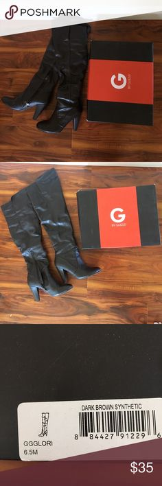 G by Guess GGGlori Dark Brown Boots Sz6.5 G by Guess GGGlori Dark Brown Synthetic Boots, size 6.5. Lightly worn. Comes with original box. G by Guess Shoes Over the Knee Boots