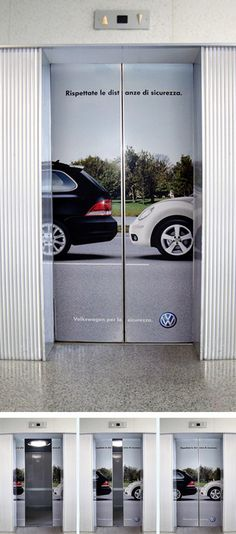 """gli italiani... che buffo... """"elevator ad - In order to raise sensitivity about safety on roads, Volkswagen planned a billboard and ambient-media campaign inside main hospitals of Northern Italy."""""""