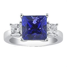 14K White Gold Tanzanite and Diamond Ring 4.85 TCW - http://www.tanzanite.com/product-p/tzr26315.htm