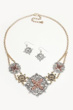Leanna Necklace in Tri Tone on Emma Stine Limited