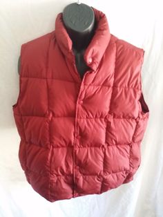 L.L. BEAN nylon mens size Large Brick Red GOOSE DOWN filled snap up VEST  #LLBean