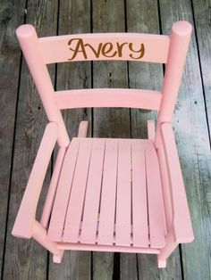 Pink Rocker / Customized Girls Rocking Chair/ Kids Furniture / Toddler Rocking Chair / Pink and White / Choose Color and Personalized Name by particulargifts on Etsy