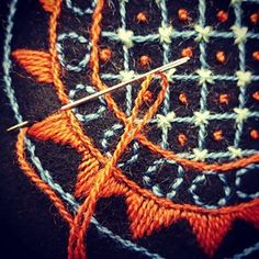 broderimalin | User Profile | Instagrin Scandinavian Embroidery, Swedish Embroidery, Embroidery Jewelry, Crewel Embroidery, Beaded Embroidery, Cross Stitch Embroidery, Embroidery Patterns, Textiles, Wool Applique