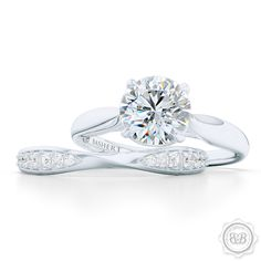 Custom Diamond Wedding Bands and Engagement Rings. Create yours online. Custom Diamond Wedding Band in White Gold or Platinum and a matching Engagement Ring. Bashert Jewelry Boca Raton   FREE SHIPPING to all orders in the USA.