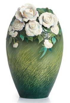 This gorgeous Van Gogh White Roses Porcelain Vase from the craftsmen of #Franz Collection pays glowing, living tribute to the iconic Dutch painter's 1890 masterpiece.