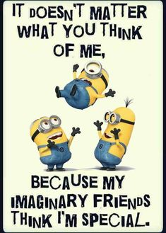 It doesn't matter what you think of me, because my imaginary friends think I'm special funny funny quotes minion minion quotes funny minion quotes minion pics minion quotes and sayings quotes funny quotes funny funny hilarious funny life quotes funny Funny Minion Pictures, Funny Minion Memes, Cute Minions, Minions Quotes, Funny Texts, Minions Pics, Minion Stuff, Evil Minions, Epic Texts