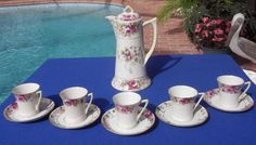 "Vintage Nippon China ""TE OH"" Hand Painted Roses Chocolate Pot w/5 Cups &Saucers #NipponTEOHChina"