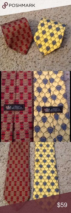 GUCCI PAOLO GUCCI SILK NECK TIES Lot of 2, EUC! GUCCI PAOLO GUCCI Lot of 2 Silk neck ties.  Amazing Links designs.  This price is for BOTH ties!  Excellent condition.  Great gift!  I'd ship for Free!  Check out my other designer items Gucci Accessories Scarves & Wraps