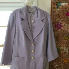 Beautiful blazer by Linea It's a beautiful blazer by Linea 62% polyester 33% rayon 5% spandex it is a light lavender color with a beautiful matching lining gold and pearl buttons going up the front one extra button three quarter length sleeve or you could call it a bracelet sleeve to pocket fully lined very well my beautiful jacket never worn Linea  Jackets & Coats Blazers
