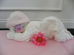 Sleeping Baby Diaper Cake by Rondasbabygifts on Etsy, $28.00