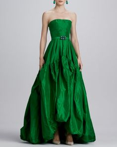 Oscar de la Renta  Strapless Silk Ball Gown, kelly green emerald silks.