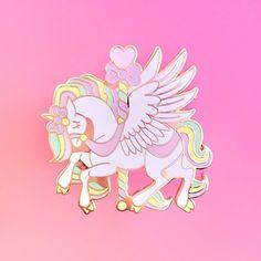 Kawaii Rainbow Carousel Unicorn Gold Hard Enamel Lapel Pin by MeganAllisonDesign on Etsy