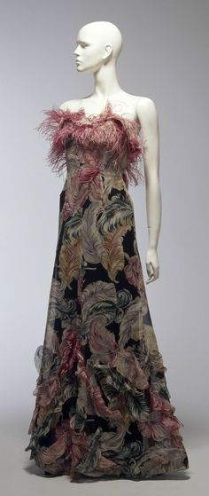 Evening Dress, Coco Chanel (Paris, France): ca. 1938, cotton, ostrich feathers.