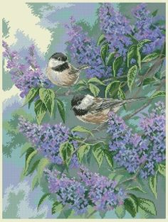 Dimensions 32258 Chickadees and Lilacs (вышивка крестиком)