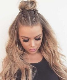Half Braided Hairstyles, Easy Formal Hairstyles, Hairstyles For Round Faces, Bun Hairstyles, Gorgeous Hairstyles, Summer Hairstyles, Medium Hairstyles, Clubbing Hairstyles, Natural Hairstyles