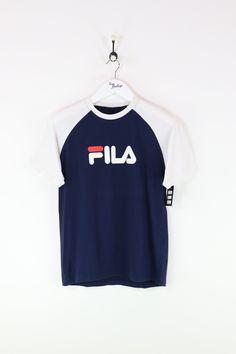 b04b14f61 Fila T-shirt Navy/White Small Vintage Clothing Uk, Vintage Outfits, Tomboy