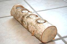 Un magnifique bougeoir en bois de bouleau, une déco rustique unique. A placer en centre de table, sur la table de salon, sur le rebord de la fenêtre ou même dans la salle de bai - 15857417